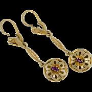 """SALE Art Nouveau 18k 2"""" drop dangle Earrings"""