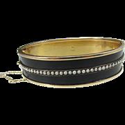 SALE Binder Brothers 12K GF Black Enamel Seed Pearls Hinged Bracelet