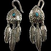 SALE Sterling Turquoise Vintage Earrings