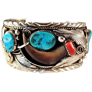 SALE Vintage Navajo Mike Thomas Jr. Sterling Turquoise Coral Cuff Bracelet