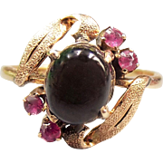 SALE 14K 20pt Natural Black Ruby Star Sapphire Ring