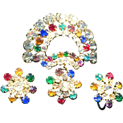 REDUCED 1930's Sweet Multicolor Rhinestone Fan Dangle Brooch Set