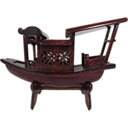 Vintage Chinese Wood Carved Fishing Boat On Stand