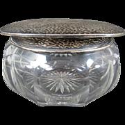 Unger Bros. Hammered Sterling Silver Dresser Jar ca. 1900