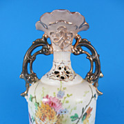 REDUCED Ernst Wahliss Two Handled Austrian Porcelain Floral Bud Vase