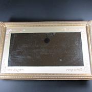 REDUCED Mirrored Silk Bordered Rectangular Dresser Tray Ornate Frame