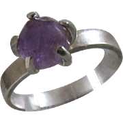 Silver Amethyst ring - Claw set Stacking Ring