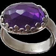 Sterling Silver Brazilian Amethyst Ring - High-grade Deep Purple Amethyst ring - Cushion cut .