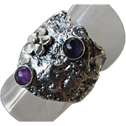 Reticulated Silver Amethyst Ring - Unique designed ring - Ready to Ship Size 7 1/2 - Artistic