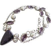 Purple Charoite Silver Necklace with Amethyst and Pearl