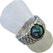 Eilat Stone Silver Ring - Textured band Ring - Mens Ring