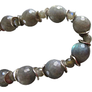 Set Silver Labradorite Necklace and Earrings