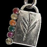 Multi stone Silver Pendant - Handmade jewelry - Contemporary jewelry