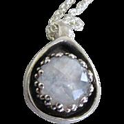 Moonstone Silver Pendant - Flash Crown Bezel in Drop Pendant