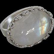 Handmade Silver Moonstone Ring - Blue Flash Rainbow ring