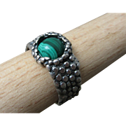 Malachite Silver Ring - Textured band Ring - Mens Ring