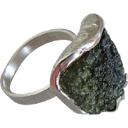 Rough Moldavite Silver ring