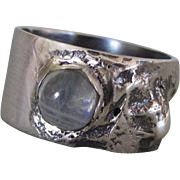 Statement Moonstone Ring - Unique Reticulated Silver Ring - Rainbow Ring - Size 6 1/2