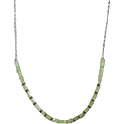 Peridot Ruby Necklace - Small Stone Necklace