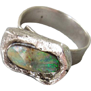 SOLD Natural Multi Color Opal ring - Silver Adjustable ring