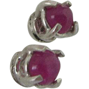 Ruby Silver stud earrings