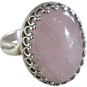 Silver Stone Crown bezel Ring - Rose Quartz Adjustable ring