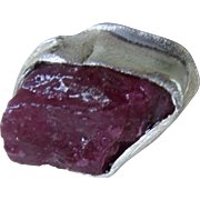 Raw Uncut Ruby Ring - Silver Rough Rustic Ruby RIng - Size 8 3/4