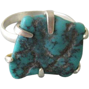 Silver Raw Turquoise Ring