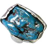Silver Natural Turquoise RING - Raw Rustic Ring - Handmade jewelry - Nugget Turquoise ring