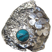 Silver Ring with Turquoise - Unique designed ring - Ready to Ship Size 7 1/2