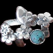 Handmade Turquoise Flowers ring - Artisan jewelry - Statement ring - Contemporary jewelry