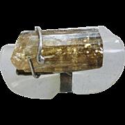 Raw Yellow Topaz Ring - Imperial Golden Topaz. - Size 6 1/4