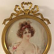 Signed Antique Hand Painted Miniature Portrait Gilt Bronze Frame