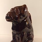 Rockingham Glazed Figural Dog Pitcher