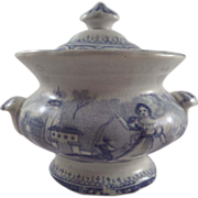 Staffordshire Blue & White Children's Toy Tureen Girl and Goat Pattern