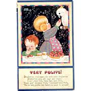 Raphael Tuck Oilette Postcard Quaint Folk Series Very Polite by Chloe Preston artist signed