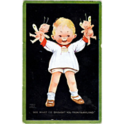 SOLD Valentines Postcard by Mabel Lucy Attwell Fairyland Pixies Baby artist  signed 1924