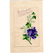 Raphael Tuck Postcard Embroidered Flowers Broderie D'Art series Birthday Greetings