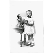 Toddler Little Boy with Soft Toy Teddy Postcard Real Photograph Edwardian