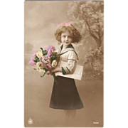 Beautiful Girl with Roses Tinted Real Photo Postcard Np.1