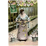 Early French Fantasy New Year Postcard Lady with buckets of Babies Roses