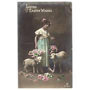 Real Photographic Easter Postcard Little Girl, Lambs and flowers  Carlton Publishing Co. ...
