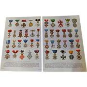 """Decorations of Honor - Pair of Chromo Lithograph Prints 1900 Royalty Military Religious 12"""""""