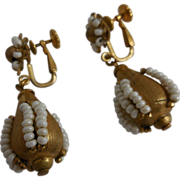 Vintage Miriam Haskell Gold Tone &  Simulated Seed pearl Drop Earrings