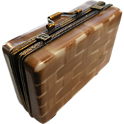 Vintage Limoges Hinged Box Depicting Suitcase