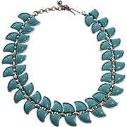 Vintage Teal Thermoset Bergere Necklace