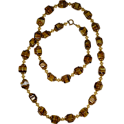 Vintage Amber and Gold Colored Beaded Necklace