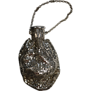 Whiting and Davis Silver Toned Mesh Purse with Sterling Silver Lid