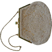 Vintage Belgium Beaded White Purse with Green Stone Clasp