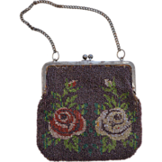 Victorian Dark Brown Beaded Purse with Roses and Leaves